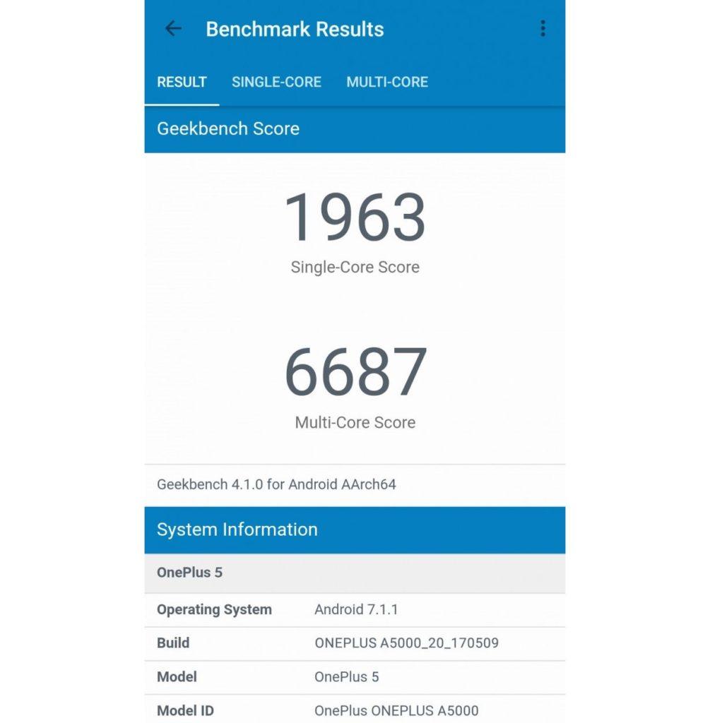 OnePlus 5 on GeekBench