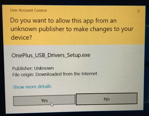OnePlus usb Drivers Installation warning