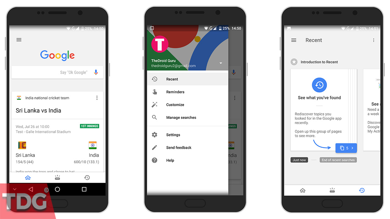 Access Recent Cards in Google App