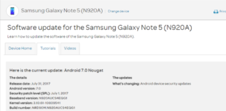 AT&T Galaxy Note 5 July 2017 Security Patch Update