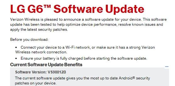 LG G6 update