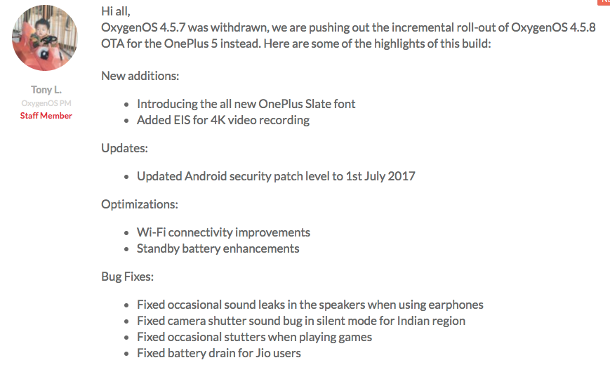 OxygenOS 4.5.8 For OnePlus 5 Changelogs