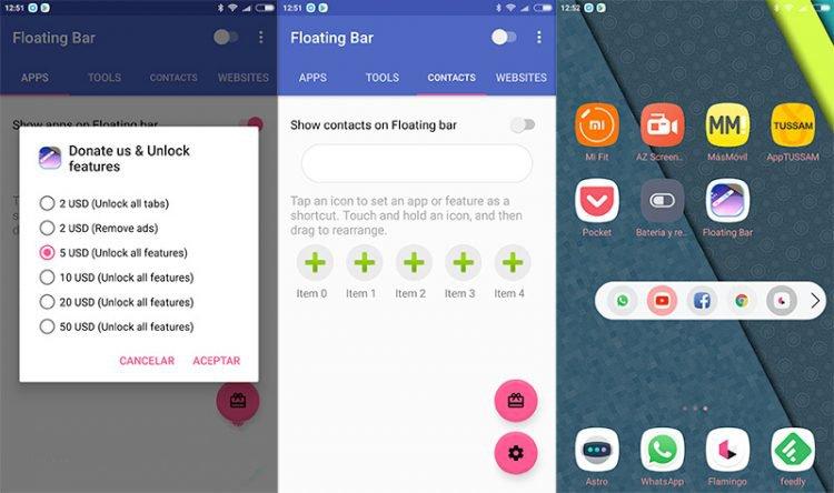 Download the LG V30 Floating Bar app on your phone