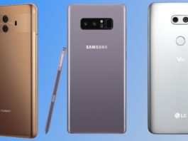 Comparison of the Huawei Mate 10 against Galaxy Note 8 and LG V30