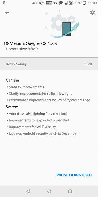 OxygenOS 4.7.6 on OnePlus 5T