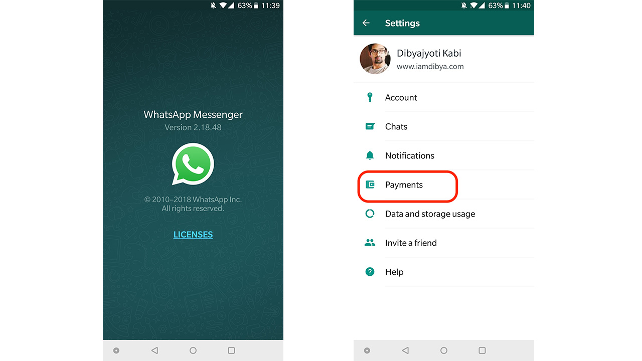 Whatsapp upi payment India