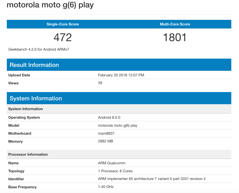 Moto G6 Play's specifications confirmed as it appears on Geekbench