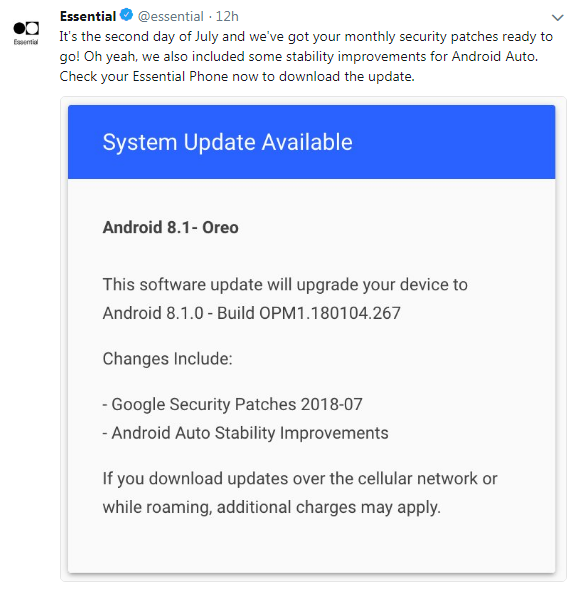 Essential Rolling Out Android P Beta and July Security Patch Update to Essential Phones