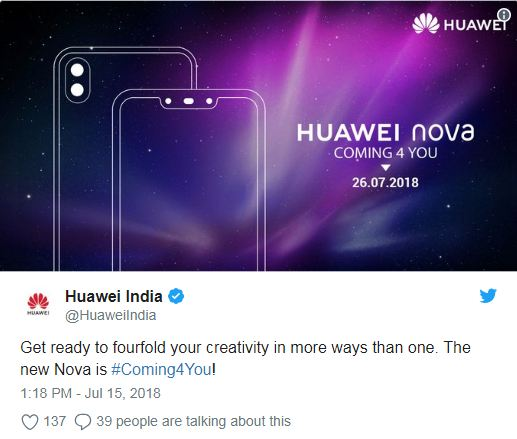 Huawei Nova 3 and Nova 3i set for launch on July 26 with GPU Turbo support, will be Amazon India exclusive