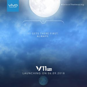 Vivo V11 Pro smartphone teased to launch on September 6 with In-Display Fingerprint Scanner and Halo FullView Display