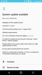 Moto G5 Plus Oreo Update
