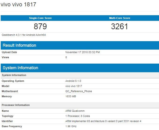 Vivo 1817 visits Geekbench with 2GB RAM, runs on Android Oreo