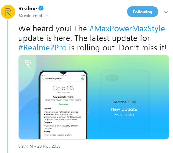 Realme 2 Pro starts receiving ColorOS OTA update officially