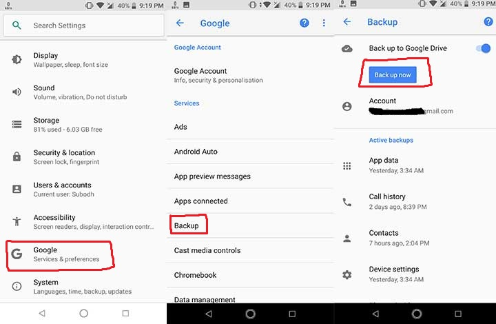How to Backup Android Device Data on Google Drive
