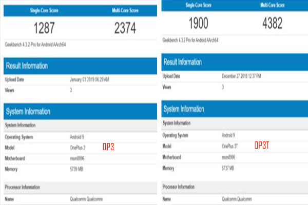 Android 9 Pie running OnePlus 3 and OnePlus 3T spotted on Geekbench